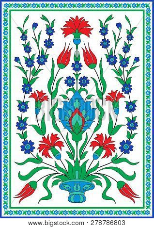 Tradirional Floral Design In Turkish Style, Carnation And Tulip Flowers