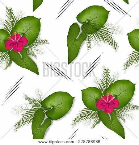 Spring, Summer Pattern,  With Flowers, Leaves And Patterns. Seamless, Vector Pattern In The Style Of