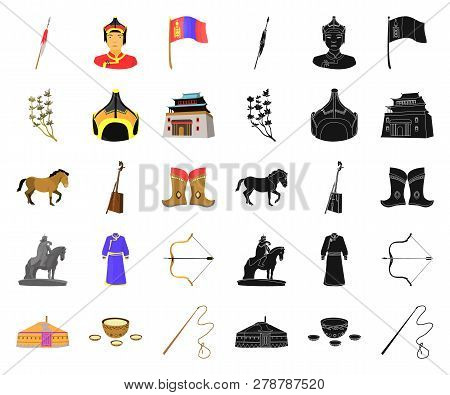Country Mongolia Cartoon, Black Icons In Set Collection For Design.territory And Landmark Vector Sym