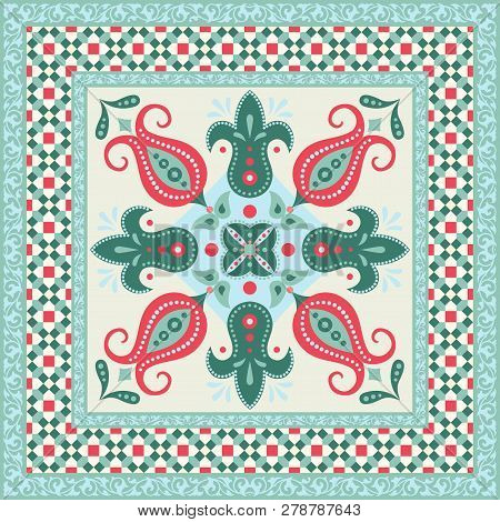 Ornamental Tile Design, Decorative Flowers And Mosaic Frame