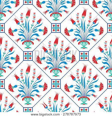 Traditional Ottoman Floral Motif, Ceramic Tile Design