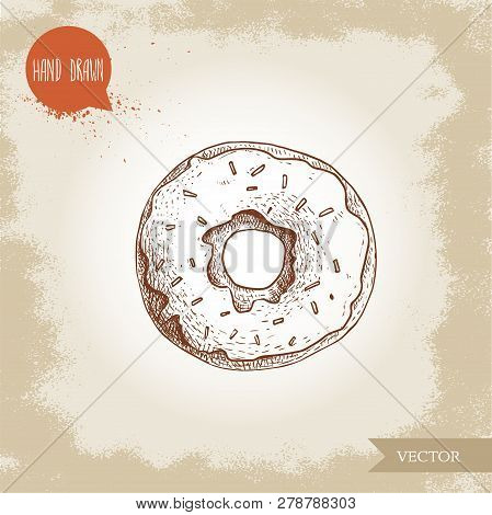 Hand Drawn Sketch Style Donut With Sprinkles. Bakery Good Top View With Icing Cream. Vintage Sweet P