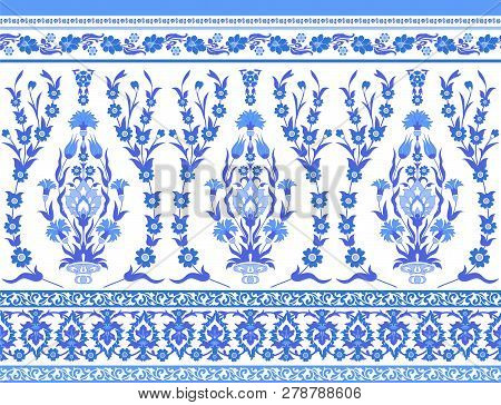 Blue And White Floral Pattern In Turkish Style
