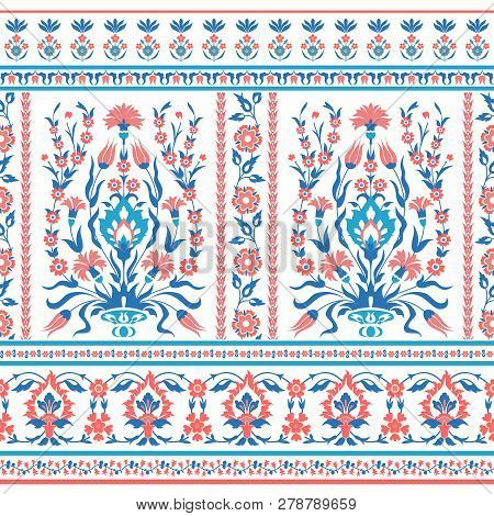 Traditional Floral Seamless Pattern In Folk Style