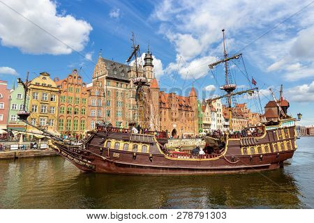 Gdansk, Poland - August 21, 2014: Galeon Lew Cruise Arriving At The City Of Gdansk. The City Is The