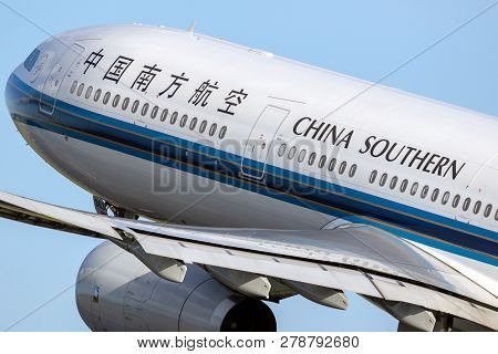 Amsterdam, The Netherlands - Jan 9, 2019: China Southern Airlines Airbus A330 Passenger Plane Taking