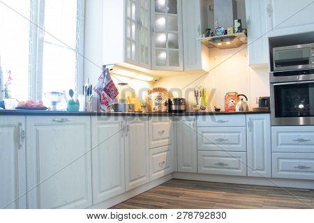 White Kitchen. Wooden Kitchen. Modern Furniture And Kitchen Interior. Kitchen To Individual Sizes. R