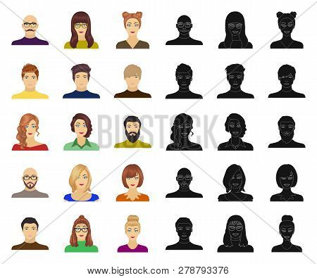 Avatar And Face Cartoon, Black Icons In Set Collection For Design. A Persons Appearance Vector Symbo