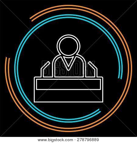President Speech Flat Icon - Public Speaker Character Vector Illustration. Ceo Speaker. Thin Line Pi