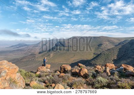 Tankwa Karoo National Park, South Africa, August 31, 2018: A Tourist At The Viewpoint In The Gannaga