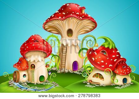 Magic Mushroom Group. Fairy Houses Red Mushrooms With Water Mill, Golden Bell And Owls