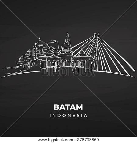 Batam Landmarks On Blackboard. Hand-drawn Vector Illustration. Famous Travel Destinations Series.