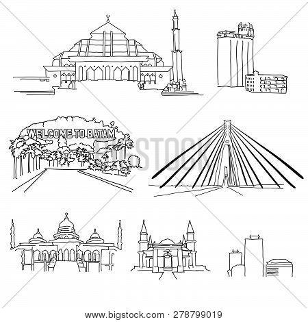 Batam Famous Architecture Outlines. Hand-drawn Vector Illustration. Famous Travel Destinations Serie