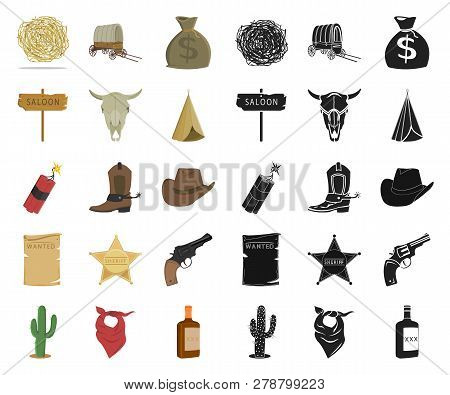 Attributes Of The Wild West Cartoon, Black Icons In Set Collection For Design.texas And America Vect