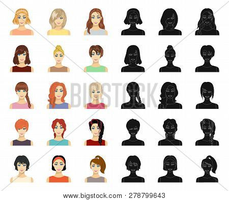 Types Of Female Hairstyles Cartoon, Black Icons In Set Collection For Design. Appearance Of A Woman