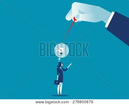 Hand With Pin About To Burst Balloon With Ideas. Concept Business Illustration. Vector Flat