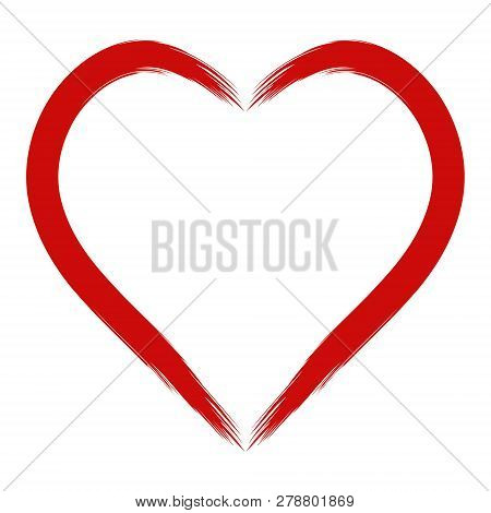 Contours Of A Red Heart Strip, Hand Draw With A Stiff Brush, Vector Heart Shape For Lovers
