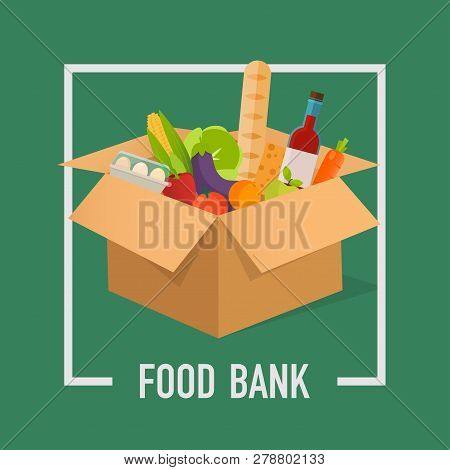 Food Bank Simple Concept Illustration. Time To Donate. Food Donation. Boxes Full Of Food. Vector Con