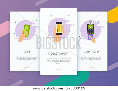Onboarding Screens User Interface Kit For Mobile App Templates Concept Of  Payment Methods. Cash, In