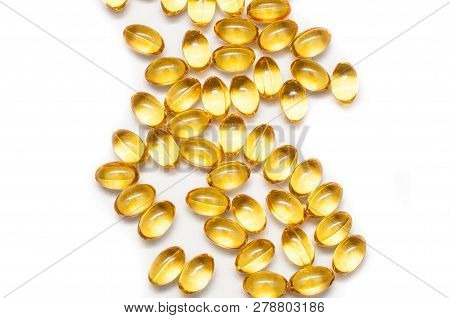 Close Up Of Food Supplement Oil Filled Capsules Suitable For: Fish Oil, Omega 3, Omega 6, Omega 9, E
