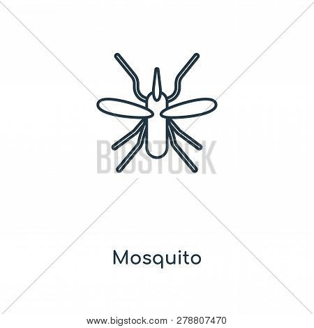 Mosquito Icon In Trendy Design Style. Mosquito Icon Isolated On White Background. Mosquito Vector Ic