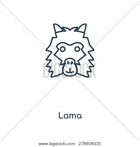 Lama Icon In Trendy Design Style. Lama Icon Isolated On White Background. Lama Vector Icon Simple An