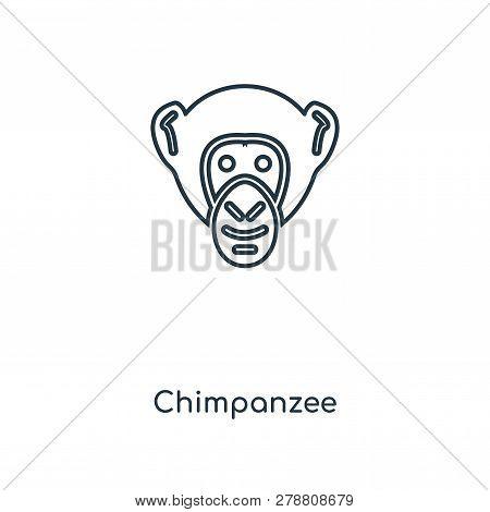 Chimpanzee Icon In Trendy Design Style. Chimpanzee Icon Isolated On White Background. Chimpanzee Vec
