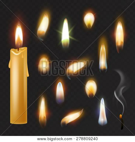 Candle flame vector fired flaming candlelight and flammable fire light illustration fiery flamy realistic set bright burn decoration for celebration isolated on black transparent background poster