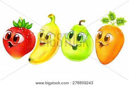 Funny Cartoon Fruit With Big Eyes. Food Set. Emotion Strawberry, Banana, Pear, Carrot