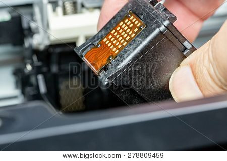 Close Up On Ink Cartridge Replacement On An Inkjet Printer