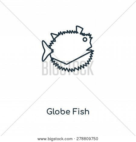 Globe Fish Icon In Trendy Design Style. Globe Fish Icon Isolated On White Background. Globe Fish Vec