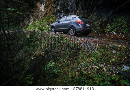 Racha-lechxumi, Georgia - October 17, 2016: Off-road Trip By Car On Narrow Mountain Road In Racha-le