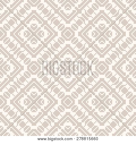 Vector Geometric Traditional Folk Ornament. Delicate White And Beige Seamless Pattern. Ornamental Ba
