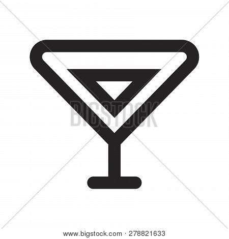 Cocktail Glass Vector Icon On White Background. Cocktail Glass Icon In Modern Design Style. Cocktail