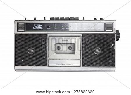 Retro Radio Cassette Isolated On White Background