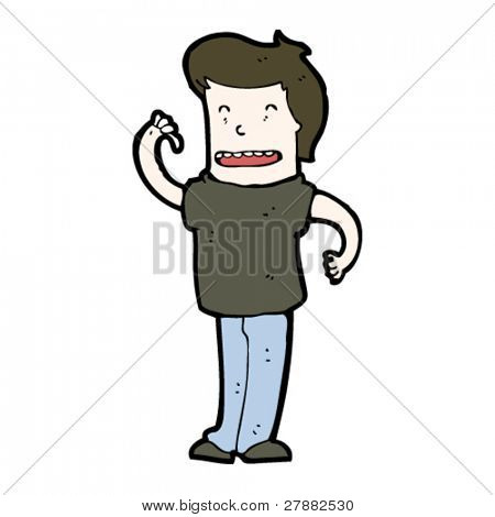 egotistical cartoon man pointing at self