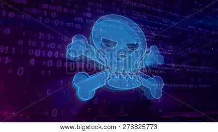 Cyber Crime Abstract Concept. Shape And Contour Of Skull Icon On Digital Background. Computer Attack
