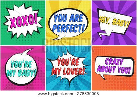 Cute St. Valentines Retro Comic Speech Bubbles Set With Colorful Hey Baby, Xoxo, Crazy About You Tex