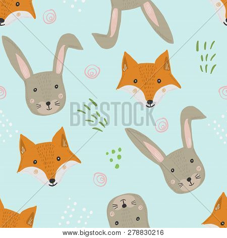 Cute Seamless Pattern With Cartoon Orange Fox And Gray Hare Heads With Grass On Blue Background. Fun