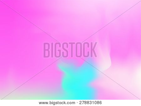 Hologram Vector Fairy Tale Dreamy Background. Simple Holographic Rainbow Girlie Iridescent Gradient,