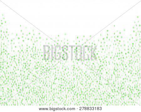Binary Code Programming Background. Big Data Concept, Neon Row Matrix Vector. Data Technology Comput