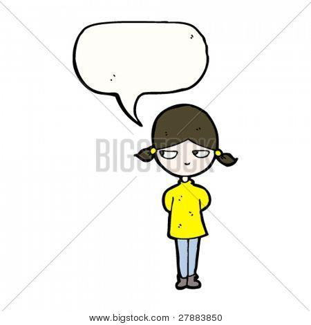 cartoon girl sulking