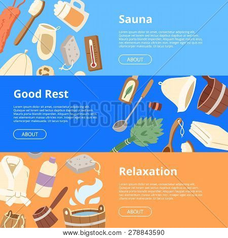 Sauna Vector Wooden Heat Spa Relaxation Therapy And Hot Steam Healthcare Backdrop Relax Therapy Sign