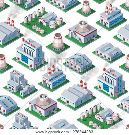 Factory Vector Industrial Building And Industry Manufacture With Engineering Power Illustration Isom