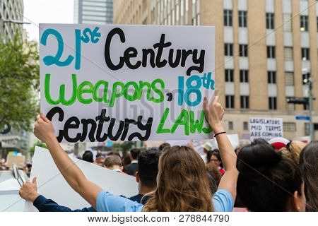 Houston, Texas - March 24, 2018: Texas Students And Families Protest For Gun Control In March For Ou