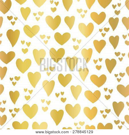 Gold Foil Hearts On White Background Seamless Vector Pattern. Hand Drawn Hearts Isolated. Shiny Meta