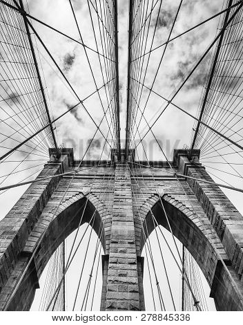 Black And White Image Of Brooklyn Bridge In New York City