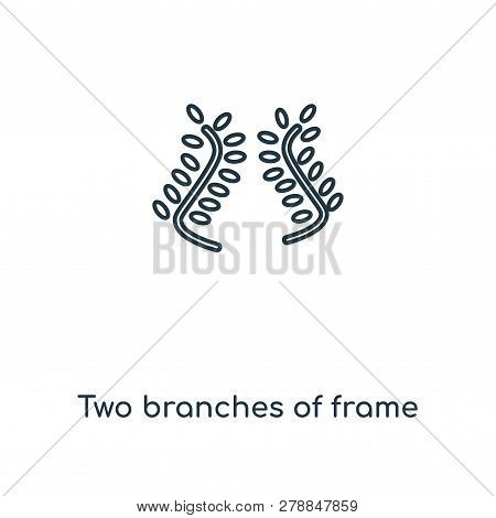 Two Branches Of Frame Icon In Trendy Design Style. Two Branches Of Frame Icon Isolated On White Back