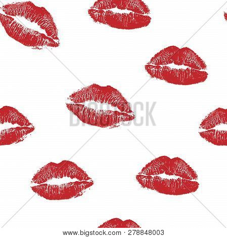 Vector Woman Red Lipstick Kiss Prints Seamless Pattern. Red Kisses For Romantic, Wedding And Valenti