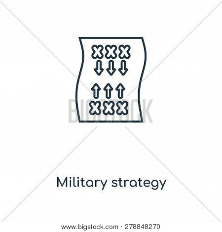 Military Strategy Icon In Trendy Design Style. Military Strategy Icon Isolated On White Background.
